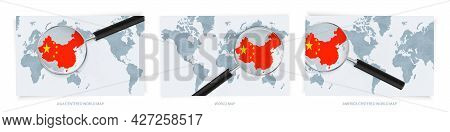 Blue Abstract World Maps With Magnifying Glass On Map Of China With The National Flag Of China. Thre