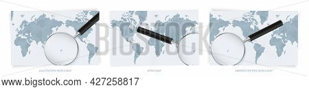 Blue Abstract World Maps With Magnifying Glass On Map Of Fiji With The National Flag Of Fiji. Three