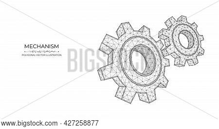 Polygonal Vector Illustration Of A Mechanism Isolated On A Blue Background. Gears, Cogwheel Or Setti
