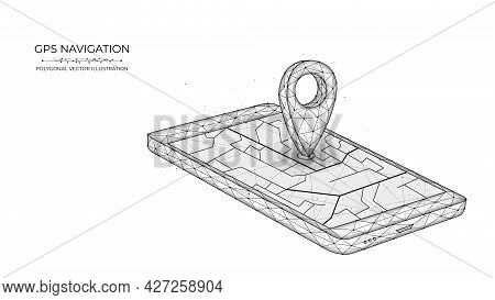 Global Positioning System Low Poly Art. Polygonal Vector Illustration Of Mobile Gps Navigation On A