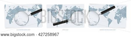 Blue Abstract World Maps With Magnifying Glass On Map Of Palau With The National Flag Of Palau. Thre