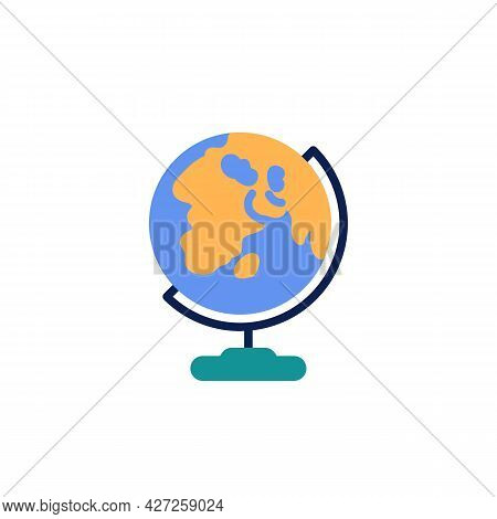 Earth Globe Flat Icon, Vector Sign, World Globe Colorful Pictogram Isolated On White. Geography Symb