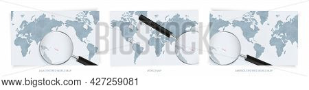 Blue Abstract World Maps With Magnifying Glass On Map Of Solomon Islands With The National Flag Of S