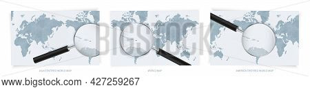Blue Abstract World Maps With Magnifying Glass On Map Of Puerto Rico With The National Flag Of Puert