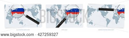 Blue Abstract World Maps With Magnifying Glass On Map Of Russia With The National Flag Of Russia. Th