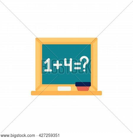 Mathematics School Board Flat Icon, Vector Sign, Math Board Colorful Pictogram Isolated On White. Sy