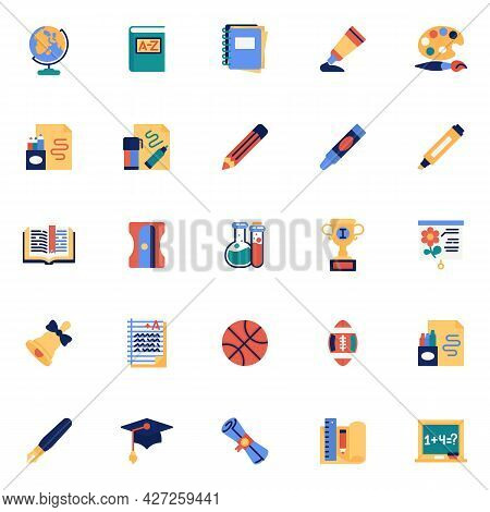Back To School Elements Collection, School Supplies Flat Icons Set, Colorful Symbols Pack Contains -