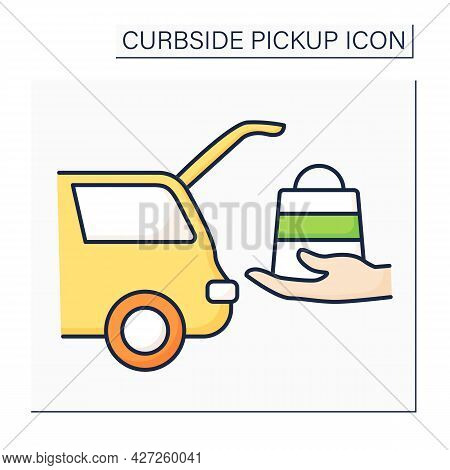 Curbside Pickup Color Icon. Delivery Purchases Into Vehicle Truck. Avoid Contacting. Contact-free De