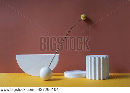 White Podium For Product Presentation. Orange And Terracotta Background. Mockup Background With Cocn