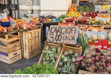 Riposto, Italy - May 23, 2020: Fresh vegetables at farmers market in Sicily, Italy