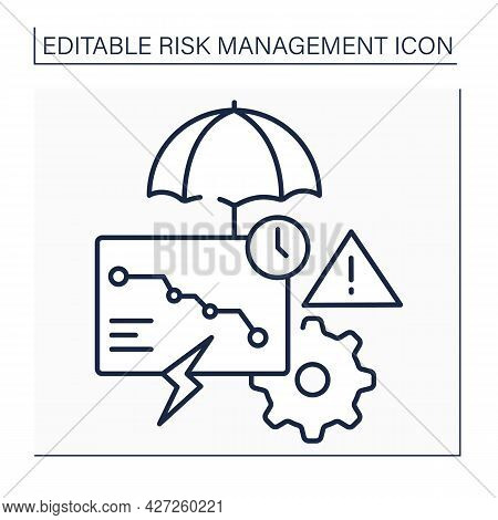 Risks Consequences Line Icon. Potential, Unpredictable, Unmeasurable And Uncontrollable Outcome. Bus