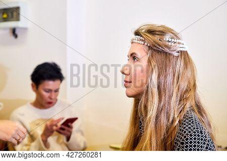 Kirov, Russia - November 09, 2019: Backstage Scene How Professional Make-up Artist Doing Glamour Mod
