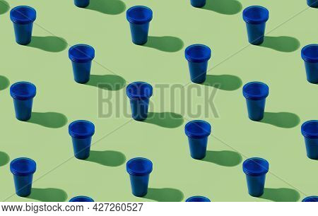 Plastic Glass Pattern. Waste Background. Tableware Advertising. Trash Impact. Collection Of Blue Abs
