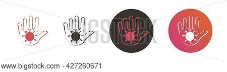 Set Of Reiki Signs. Contour Of The Palm With A Spiral Inside. Reiki Symbol. Vector Illustration