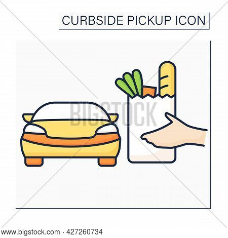 Curbside Pickup Color Icon. Store Employee Brings Pickup Grocery Bag To Consumer Vehicle. Safe Purch