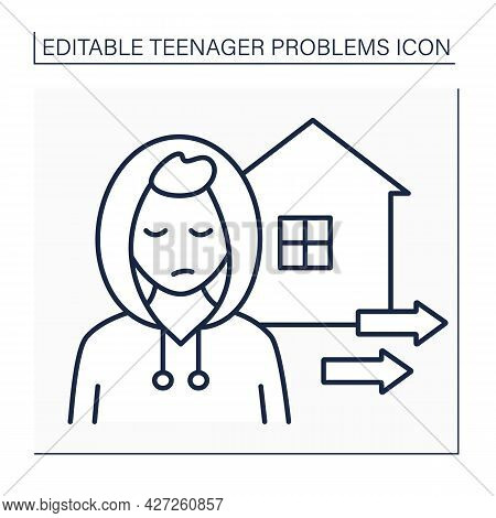 Escape Line Icon. Teenagers Run Away From Home. Protest To Parents. Self-expression. Teenager Proble