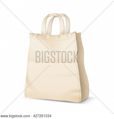 Shopping Bag Package For Purchase Accessory Vector. Textile Blank Shopping Bag For Buying Product In