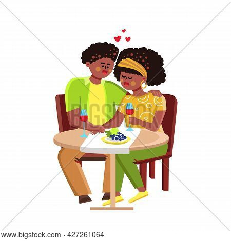 African American Couple Dating Together Vector. Young Man And Woman Romantic Dating, Sitting At Rest