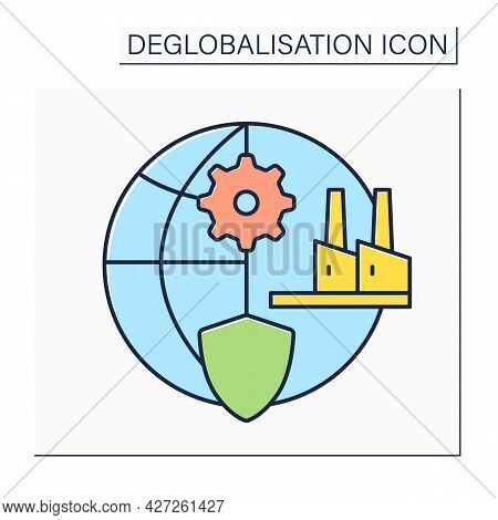 Protectionism Color Icon. Strengthening Manufacturing Sector. Deglobalisation Concept. Isolated Vect
