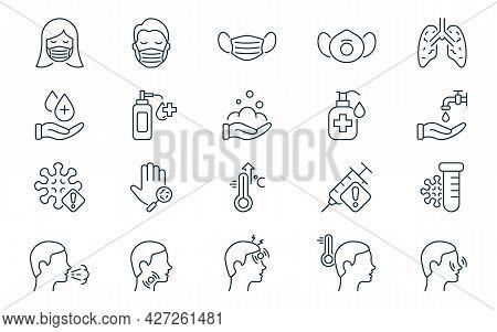 Coronavirus And Flu Linear Icon Set. Coronavirus Symptoms, Safety, Mask Protection, Prevention And F
