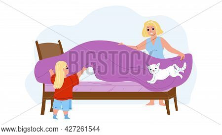 Mother And Daughter Make Bed With Bedsheet Vector. Woman And Girl Covering Bed With Coverlet In Bedr