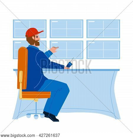 Man Security Worker Monitoring Cctv System Vector. Security Guard Watching Video Surveillance Screen