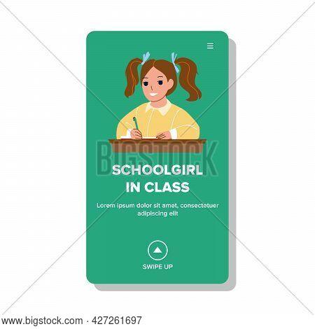Schoolgirl In Class Write Education Lesson Vector. Schoolgirl In Class Writing With Pen Educational