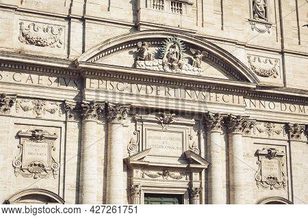 Closeup Details On Front Facade Of Santa Maria In Vallicella, Also Called Chiesa Nuova, A Baroque Ar