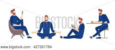Man Character Relaxed During Work Break Vector Illustration. Guy Sitting With Smartphone, Making Vid