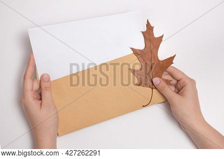 Female Hands Holding An Envelope With A Blank Letterhead About Autumn Leaf, Get Sad News, Message, A