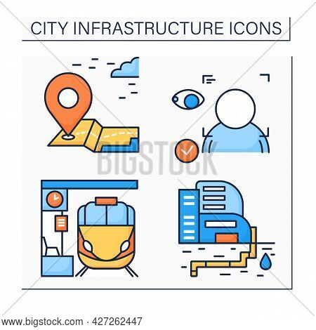 City Infrastructure Color Icons Set.landmark, Face Recognition, Railway Station, Water Supply. Indus
