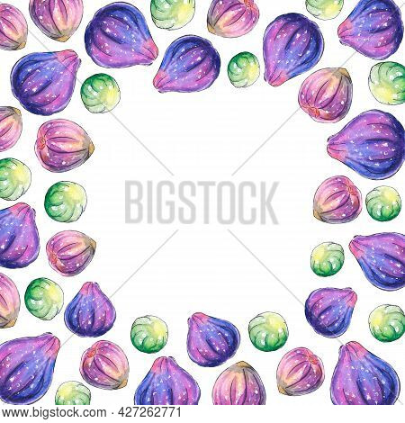 Frame, Border Of Watercolor Figs. Hand Drawn Bright Decoration, Images Of Berry, Fruit In Sketch Sty