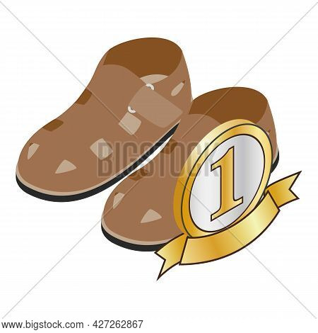 Men Sandals Icon Isometric Vector. Brown Leather Men Sandals With Metal Buckle. First Place Sign, Nu