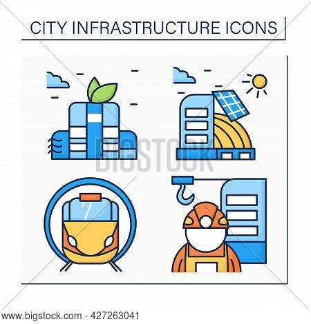 City Infrastructure Color Icons Set. Structural Engineer, Solar Battery, Railway Station, Green Buil