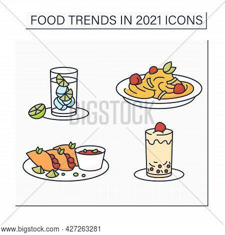 Food Trends Color Icons Set. Trendy Dishes. Quesabirria, Boba Tea, Pasta, Hard Seltzer. New Recipes
