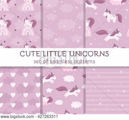 Set Seamless Patterns With Cute Fairy Unicorns, Clouds, Stars And Rainbows. Decor For A Nursery, Pac
