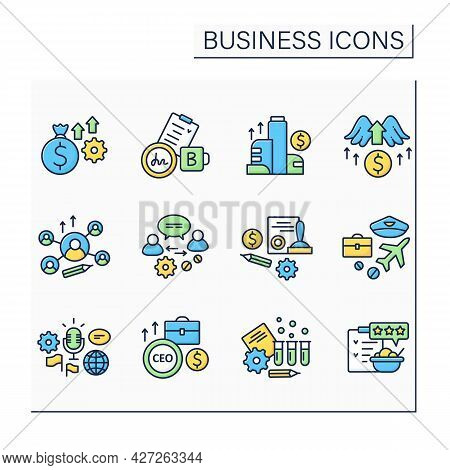 Business Color Icons Set. New Startup. Agreements. Testing Products And Rating.business Idea Concept