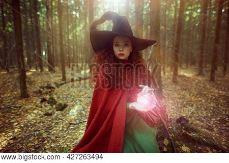 Halloween. Pretty young girl witch with magic ball in a deep forest. Fairy tales.