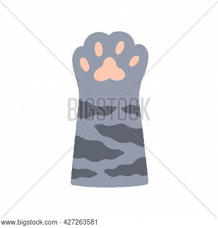 Cute Soft Paw Of Adorable Tabby Cat With Pink Pads, Drawn In Doodle Style. Kitty Hand Raised Up, Ges
