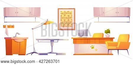 Veterinary Vet Clinic Furniture And Stuff Isolated On White Background. Reception Desk, Operating Ta