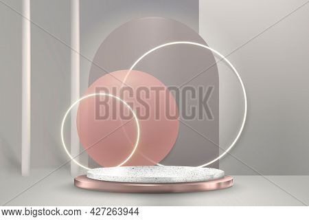 Luxury 3D product display with podium and neon rings