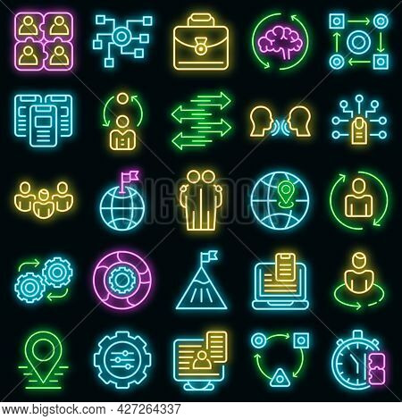 Adaptation Icons Set. Outline Set Of Adaptation Vector Icons Neon Color On Black
