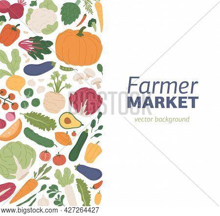 Card Design With Fresh Organic Vegetables. Veggie Background For Vegetarian Farmer Market. Backdrop