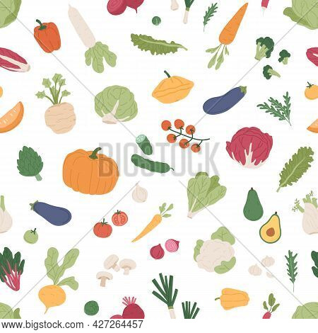 Seamless Pattern With Fresh Vegetables And Greens On White Background. Repeating Texture With Health