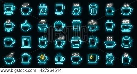 Mug Icons Set. Outline Set Of Mug Vector Icons Neon Color On Black