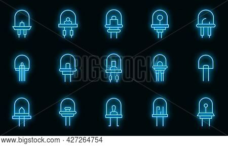 Diode Icons Set. Outline Set Of Diode Vector Icons Neon Color On Black