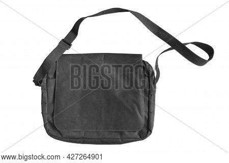 Black Textile Flap Messenger Shoulder Bag Isolated Over White