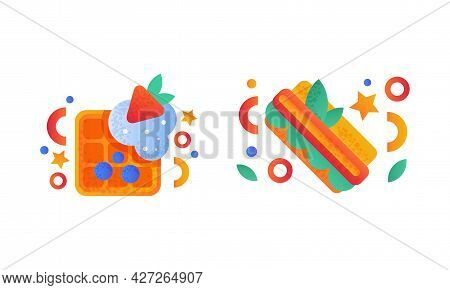 Fast Food Dishes Set, Belgian Waffle With Berries And Hotdog Flat Vector Illustration
