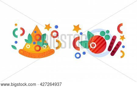 Fast Food Dishes Set, Slice Of Pizza And H Grilled Meat Flat Vector Illustration