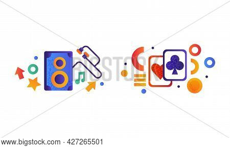 Set Of Entertainment And Gambling Symbols, Music Speaker And Earphones, Playing Cards Flat Vector Il